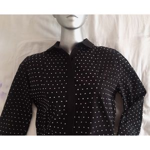 KATE SPADE B/W Dotted Swiss Placket Shirt SzL VGUC